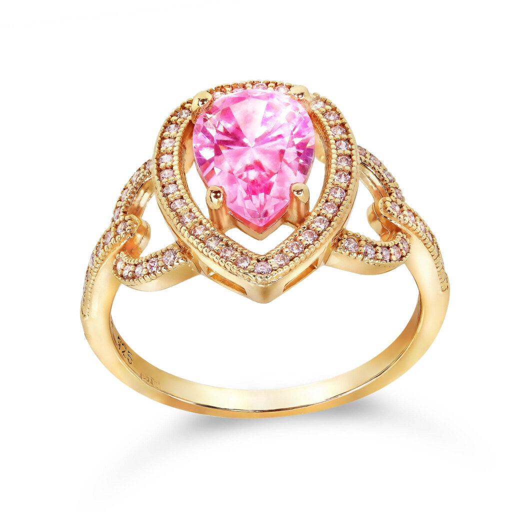 inel aur cu rubin roz
